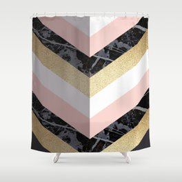 Chevron Pattern 1. Marble and Glitter #decor #buyart Shower Curtain