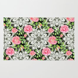 Peach Pink Roses and Mandalas on Black and White Lace Rug