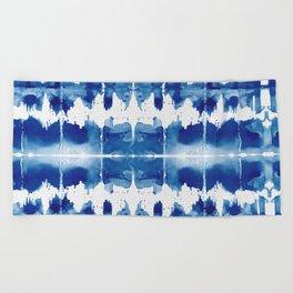 Shibori Tie Dye Indigo Blue Beach Towel