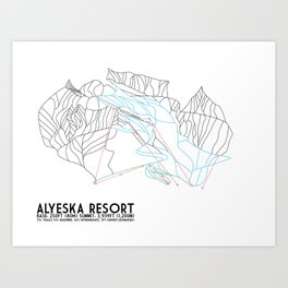 Alyeska Resort, AK - Minimalist Trail Maps Art Print