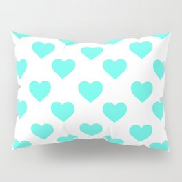 Hearts (Turquoise & White Pattern) Pillow Sham