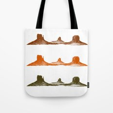 Monument Valley, 3 mountains, 3 colors Tote Bag