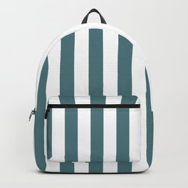 Beetle Green and White Vertical Beach Hut Stripes Backpack