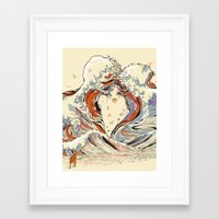 old Framed Art Prints featuring The Wave of Love by Huebucket