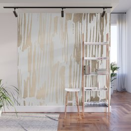 White Gold Sands Thin Bamboo Stripes Wall Mural