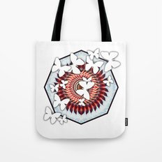 White butterflies on mandala Tote Bag