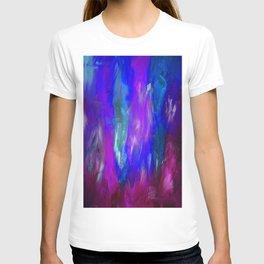 Midnight Flower Garden In Shades of Deep Blue, Violet, Purple and Pink T-shirt