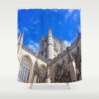 downton abbey Shower Curtains featuring Bath Abbey by Casey J. Newman