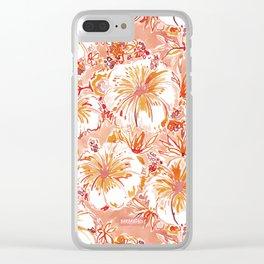 KOMBUCHA-CHA Orange Tropical Hibiscus Floral Clear iPhone Case