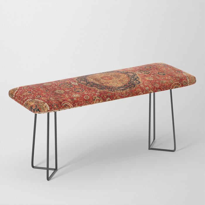 Seley 16th Century Antique Persian Carpet Print Bench
