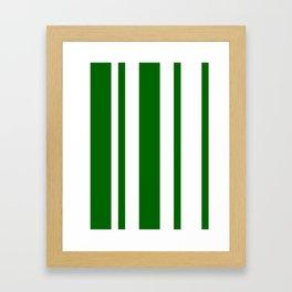 Mixed Vertical Stripes - White and Dark Green Framed Art Print