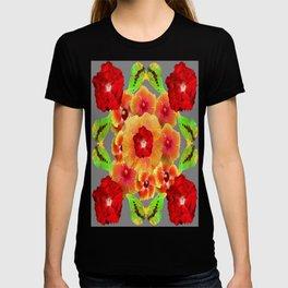 Kiwi Green Butterflies Red-Golden-pink Tropical Hibiscus Abstract Art T-shirt