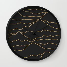 Mountains Lines Black Wall Clock