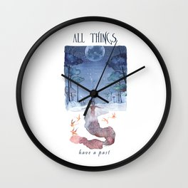 All things have a past - Angel - Watercolor Wall Clock