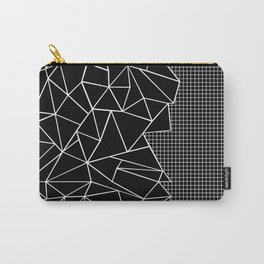 Abstract Grid Outline White on Black on Side Carry-All Pouch