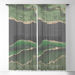Emerald Marble Glamour Landscapes Sheer Curtain
