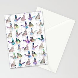 Butterflies Watercolor Colorful Pattern Stationery Cards