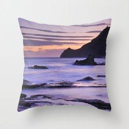 Vela blanca tower. Purple beach Throw Pillow
