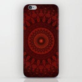 Dark and light red mandala iPhone Skin