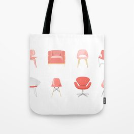 Set of Midcentury Modern Chairs in Living Coral Tote Bag