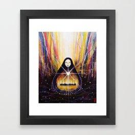 White Heart Fire Framed Art Print