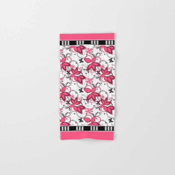 Pink black and white floral pattern . Hand & Bath Towel
