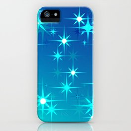 Abstract northern stars and shine on blue sky. iPhone Case