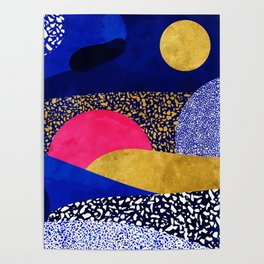 Terrazzo galaxy blue night yellow gold pink Poster