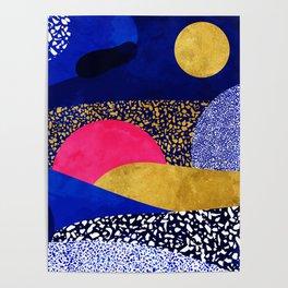 Terrazzo galaxy blue night yellow gold pink Poster