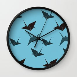 Blue origami cranes Wall Clock
