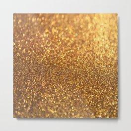 Golden Glitter Glamour Metal Print