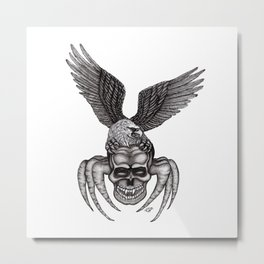 Spider-Skull and Eagle Metal Print