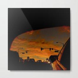 Fiery Red Sunset in Rearview Mirror Metal Print