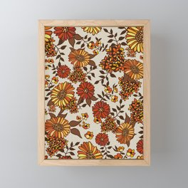 Retro 70s boho hippie orange flower power Framed Mini Art Print