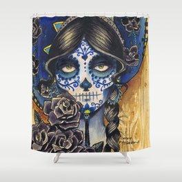 Sombrero Skull Girl Shower Curtain