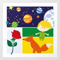 le petit prince Art Prints featuring Le Petit Prince by Lara Brambilla