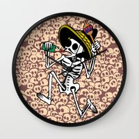 calavera Wall Clocks featuring DANCING CALAVERA  by Alberto Corradi