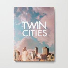 Twin Cities Skylines and Colorful Sky-Minneapolis and Saint Paul Minnesota Metal Print