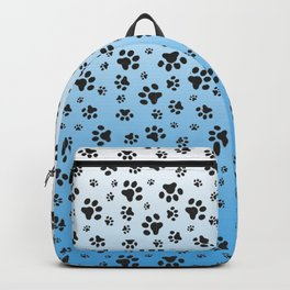 Paw Prints Light Blue White Gradient Backpack