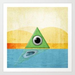 Green Triangle Monster Art Print