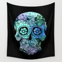 calavera Wall Tapestries featuring Calavera Flowers BG by BigTee