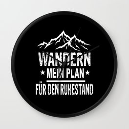 My Plan For Retirement Camping Hiking Wall Clock