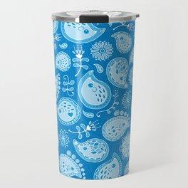 Hedgehog Paisley - Blue Pool Travel Mug