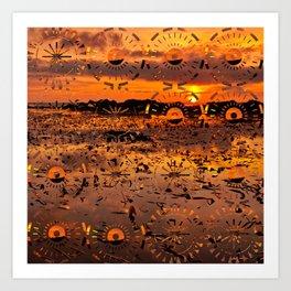 Sunset landscape with round random shapes Art Print