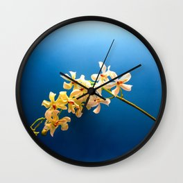 Flowers in blue Wall Clock
