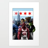 blackhawks Art Prints featuring Chicago Sports by Carrillo Art Studio