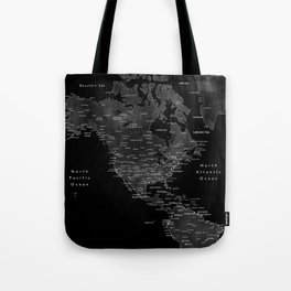 Black and grey world map with cities Tote Bag