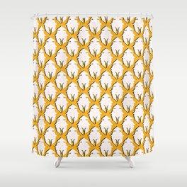 Gold Butterflies Silhouette Allover Shower Curtain