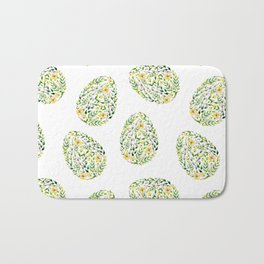 Artistic hand painted yellow green watercolor floral easter eggs Bath Mat