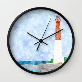 Watercolor Collage Lighthouse Wall Clock